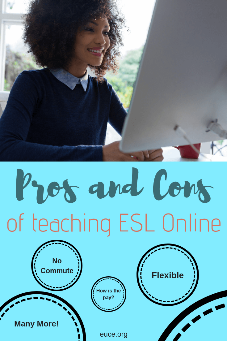 What are the pros and cons to teaching ESL online? She works for two online ESL companies and gives lots of information that is hard to find other places.